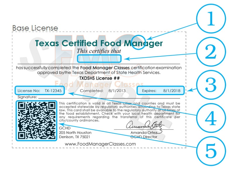 Food Manager Classes: Food Manager Certificate Sample